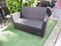 new garden or patio 2 seater settee in brown