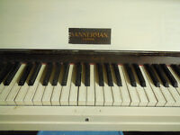 Lovely standing piano, Bannerman, painted white £50