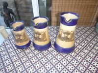 ROYAL DOULTON STONEWARE SET OF 3 LORD NELSON JUGS 1805-1905 CENTENARY