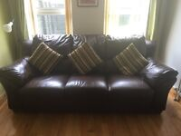 Sofa/ settee : chocolate brown - pristine condition and very comfortable