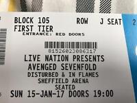 2 Avenged sevenfold tickets - Sheffield arena 15/01/17