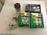 Selection of balls and tees including Ryder cup 2010 ball and tee pack