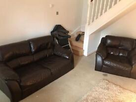 Great brown leather 2 seater and 2 chairs Hebburn can deliver