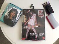 Zombie Nurse dress 12-14 UK, mask, wig, accessories