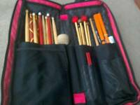 Drum kit bag and set of sticks