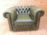 Chesterfield Club Antique Green Armchair (UK Delivery)