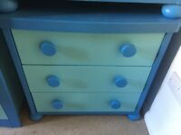 2x Ikea Mammut children's blue chest of drawers