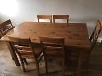Sturdy pine dining table.