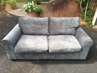Grey Fabric Two Seater Sofa Bed Excellent Condition