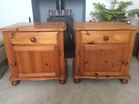 Pair pine solid bedside table cabinets- drawers