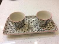 2 French cups and tray