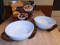 Set of 2 Designer, Over and Back, Riviera Ceramic Bowl's/Acacia Stands, Salad/Serving