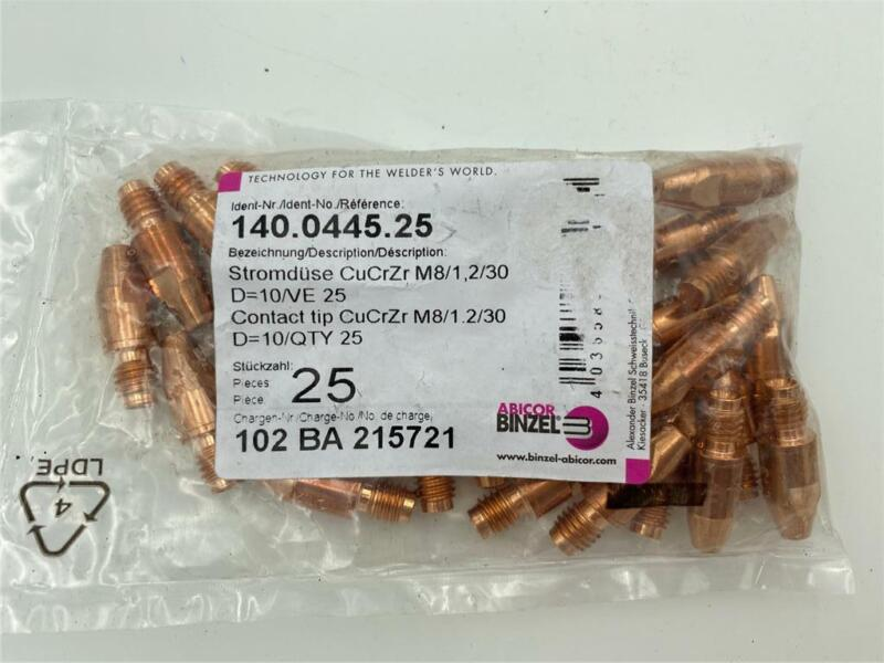 NEW 25 Pack Abicor Binzel 140.0445 Contact Tips