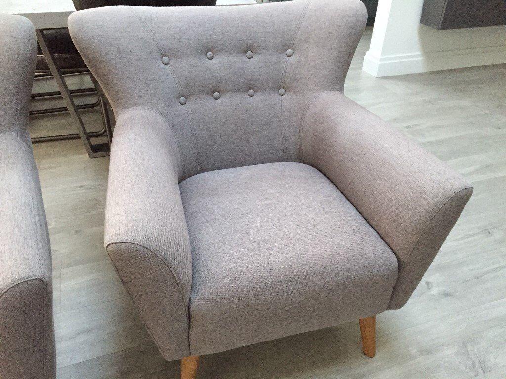 Grey Armchair Accent Chair Light Oak Legs As New High