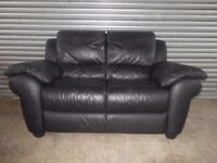 Large Black Leather 2-seater Sofa (Suite)
