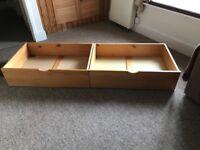 2 pine under bed storage drawers