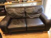 2 brown leather sofas for sale 80 o.n.o