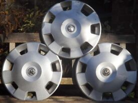 "Three Vauxhall 15"" wheel trims free to collector"