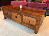 Coffee Table / Chest of Drawers - Living Room Furniture - Real Wood - 3 x Drawers - RRP £350