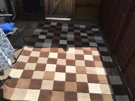 230cm x 160cm large brown checkered carpet room rug
