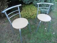 Pair Of Wooden High Back Chairs