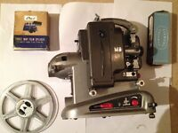Vintage 1950's Bollex Paillard M8 8mm Movie Film Projector with spare bulb and splicer
