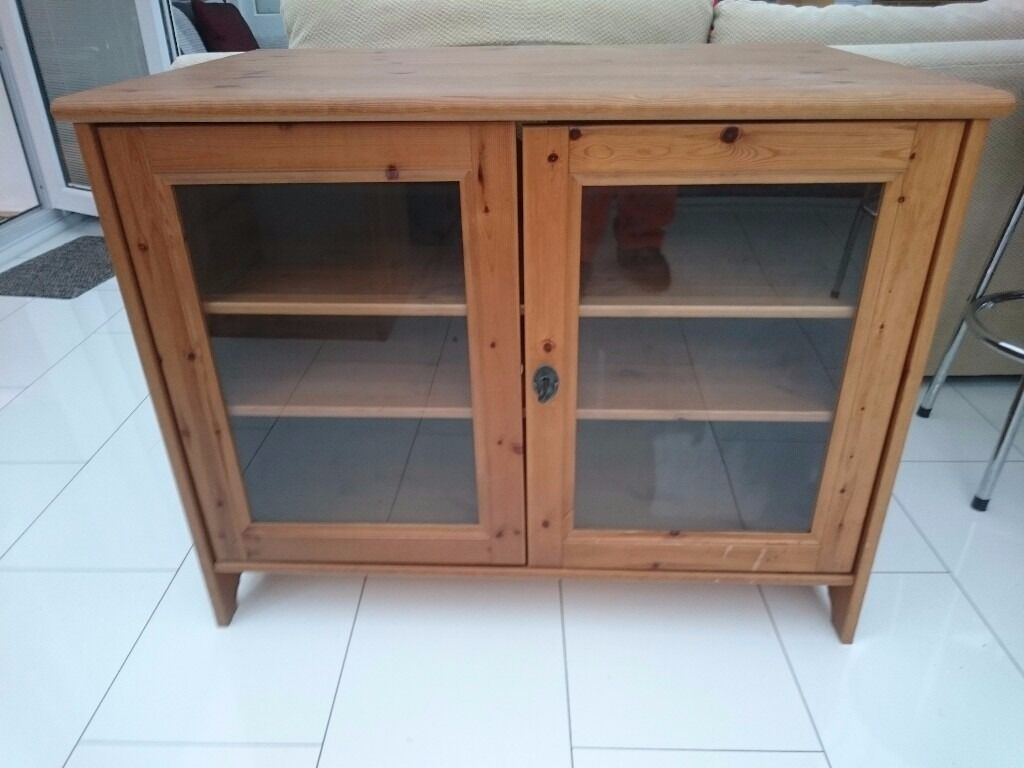 Ikea leksvik solid antique pine tv cabinet with lockable for Pine desk ikea