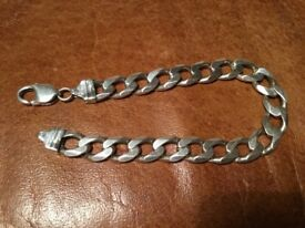 Men's Solid sterling silver curb chunky bracelet