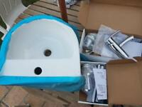 Clock room basin+ chrome bottol trap+ chrome mixer tap