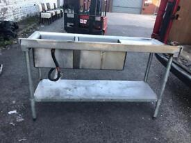 Double commercial stainless steel sink