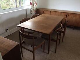 Vintage 60s G plan extending table and 5 chairs.