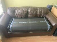For Sale Brown Leather Sofa Bed/ Can Deliver