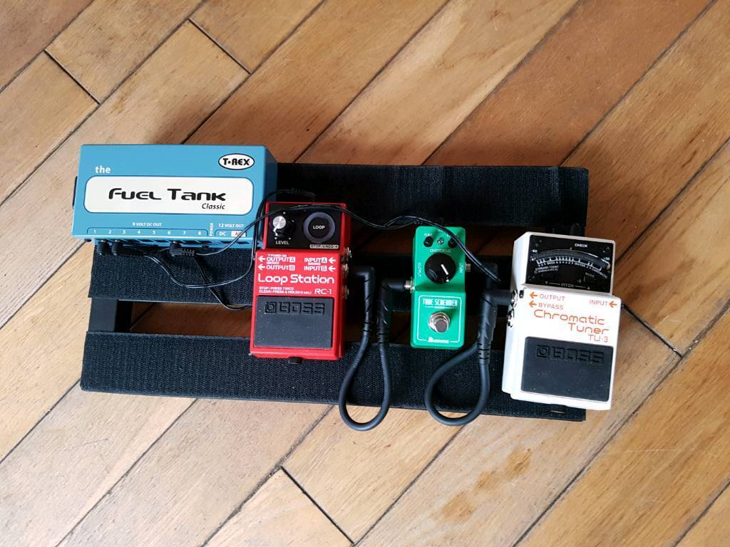 Pedal Board with Selected Pedals and Power Supply