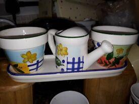 Window Sill Set - flower pot. Watering can
