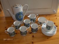 "15 piece 1970's Vintage Coffee Set Blue & White - Lord Nelson ""Saladin"""