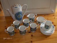 "15 piece 1970's Vintage Coffee Set Blue & White - Lord Nelson ""Saladin"""