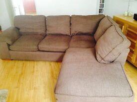 Cargo cassie corner RHF sofa in Melbourne brown fabric