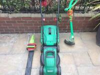 Quall cast lawnmower, hedge trimmers and a strimmer