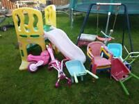 Kids toys, swing, chute, chairs, bike