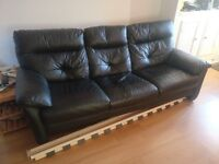 Black leather 3 seater sofa + 2 arm chairs