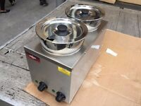 NEW 2 POT SLIM WET BAIN MARIE CATERING COMMERCIAL FAST FOOD CAFE CHICKEN RESTAURANT KITCHEN BAR