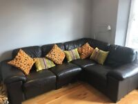 Leather corner sofa with matching swivel chair