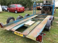 Early Brian James four wheeled car trailer with tyre rack