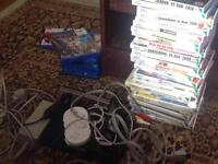 Wii system with all leads controller wii classic controller nunchuck sensor bar and 24 games