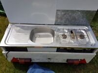 Combined camping sink & hob