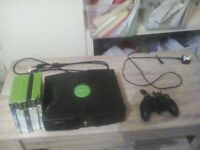 Xbox original console with games