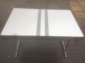 Silver chrome display table