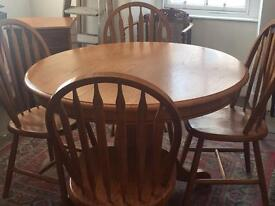 Heavy Oak Pedestal Table and 4 chairs
