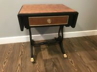 Small Upcycled Sofa Table with Extension Flaps and Drawer