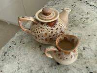 Fosters Pottery Cream Honeycomb Teapot and Milk Jug